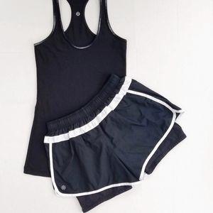 Athleta Hana Black W/ White 2 in 1 Running Shorts
